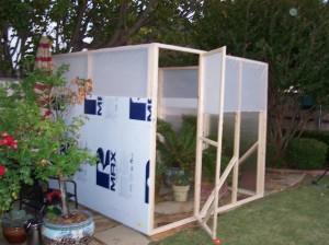 Greenhouse Door and Foam Board Applied