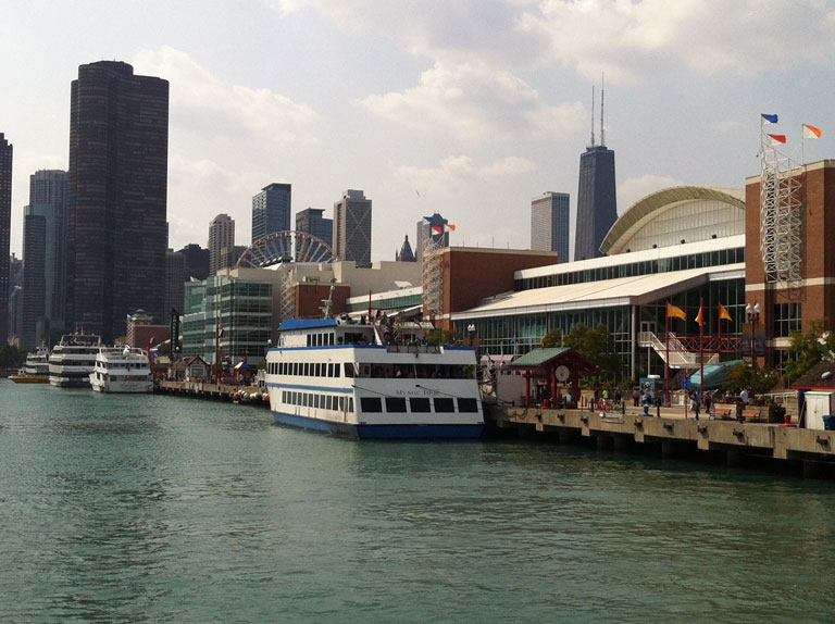 Navy Pier Along the Chicago River with the Sears Tower in the Back Ground