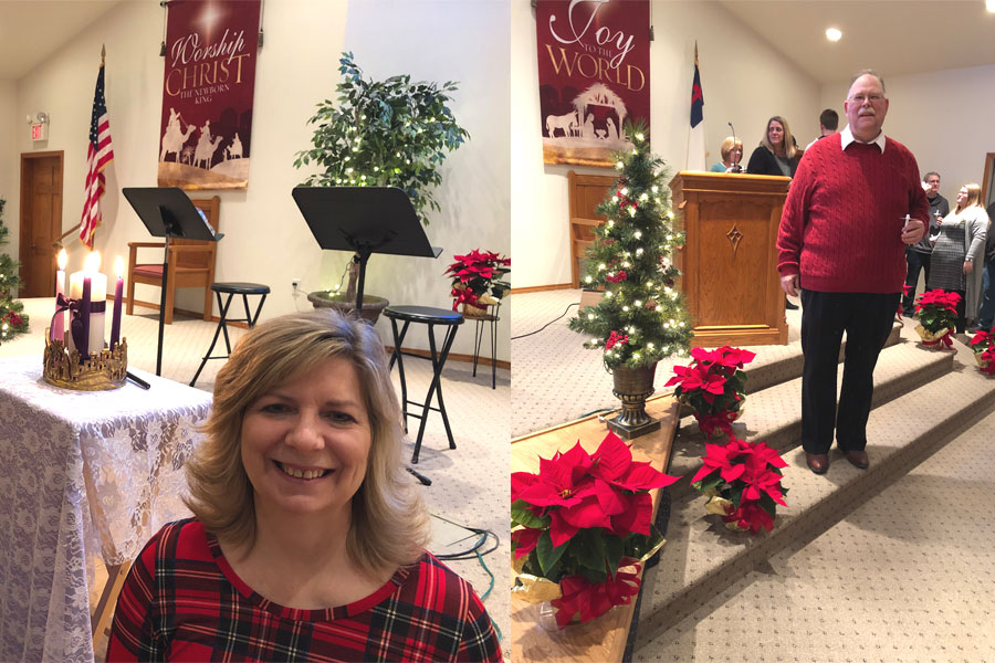 Pastor Larry Daniel on the Right | Mrs. Joni Daniel on the left next to the Four Lit Advent Candles